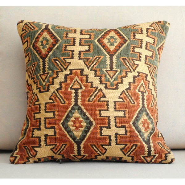 orange and green Decorative geometrical Pillow Cover -Throw Pillow - Indian style chenille jacquard sofa pillow modern pillow 10