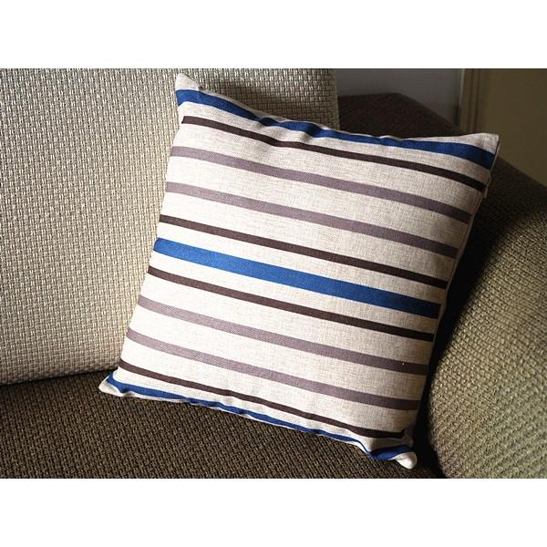 "Designer Linen Pillow - Blue and white stripes Pillow Cover -18"" 45 cm /22"" 55 cm Decorative Cushion Cover Throw Pillow cover 71"