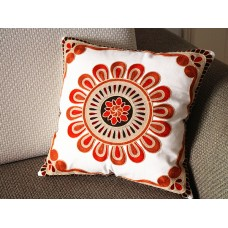 "Designer canvas Pillow - beige red Floral Embroidery Pillow Cover -18"" x 18"" /45 cm Decorative Cushion Cover Throw Pillow cover 75"