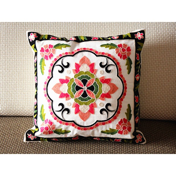 """Designer canvas Pillow - blue green blue red Floral Embroidery Pillow Cover -18"""" x 18"""" /45 cm Decorative Cushion Cover Throw Pillow cover 77"""