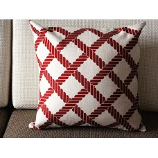 "Linen Pillow - red white diamond geometrical Pillow Cover -18"" /45 cm Decorative Cushion Cover Throw Pillow cover 96"