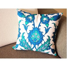 "Designer Linen Pillow -beige blue Retro flower Floral Pillow Cover - 18"" 45 cm /22"" 55 cm Decorative Cushion Cover Throw Pillow cover 169"