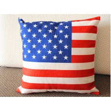 "Designer Linen Pillow -red white blue Stars and Stripes Pillow cover- 18"" /45 cm Decorative Cushion Cover Throw Pillow 174"