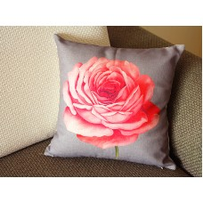 "Designer Linen Pillow -gray pink Lotus flower Floral Pillow Cover - 18"" 45 cm Decorative Cushion Cover Throw Pillow cover 196"