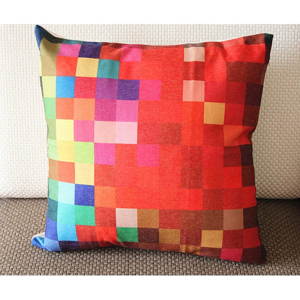 """Designer Linen Pillow -blue yellow red diamond geometrical Pillow Cover - 22"""" /55 cm Decorative Cushion Cover Throw Pillow cover 217"""