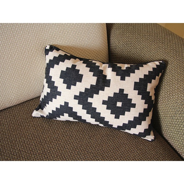 10 colors Linen Pillow - black white diamond geometrical Pillow Cover - lumbar Pillow - Throw Pillow Cushion Covers 12 x 20 ,14 x 20 246