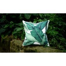 One Dark Green Tropical Jungle Zipper Pillow Cover Leaves Outdoor Pillow Dark Green Banana leaf 18x18 Lumbar Martinique Pillow cover 253