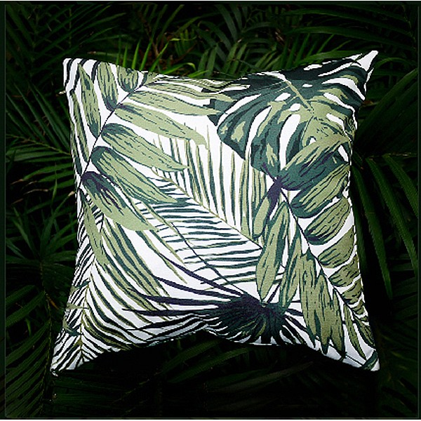 One Dark Green Tropical Jungle Zipper Pillow Cover Leaves Outdoor Pillow Dark Green Banana leaf 18x18 Lumbar Martinique Pillow cover 256