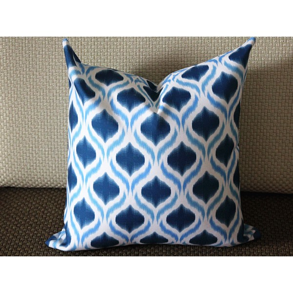 Blue Ikat Pillow - Blue White Pillow - Medium Blue Diamond Pillow - Designer Pillow - Decorative Pillow - Throw Pillow 263