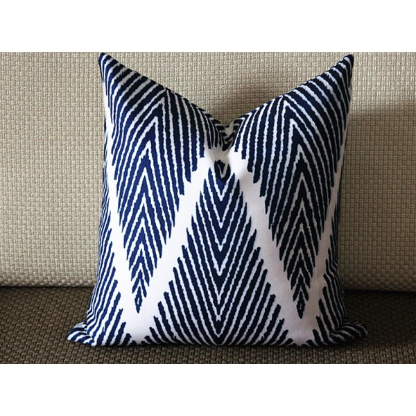 Navy Blue & White Chevron Pillow Cover, Navy Blue Pillow Cover, 16x16, 18x18, 20x20 Pillow Cover 264