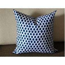 Blue White Ikat Indigo Designer Pillow -Modern Pillow - Dark Blue Decorative Pillow - Block Print Pillow - Blue and White Pillow Cover 265