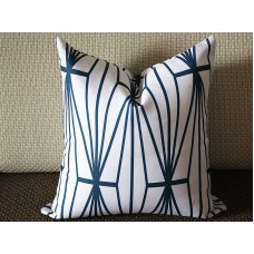 dark blue Katana Pillow Cover - Ivory Ebony - dark blue and Ivory Pillow - Designer Geometric Pillow Cover 266