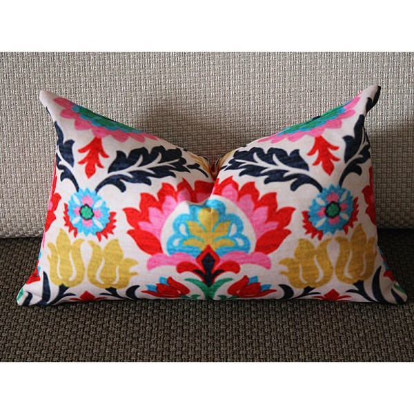 Waverly Santa Maria Desert Flower & Panama Wave Lumbar Print Decorative Pillow Cover 12x18 12x20 268