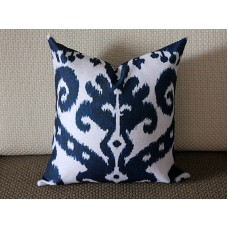 Blue Ikat Pillow - Blue Beige Navy Ikat Pillow Cover - Decorative Throw Pillow - Cobalt Blue Pillow 269