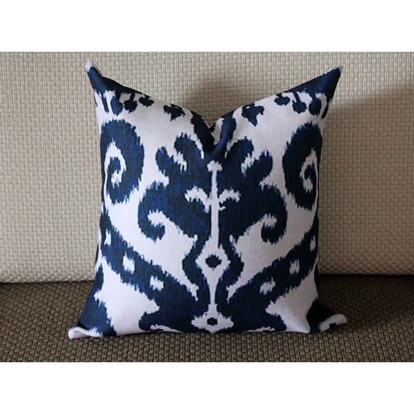 Blue Ikat Pillow   Blue Beige Navy Ikat Pillow Cover   Decorative Throw  Pillow   Cobalt Blue Pillow 269