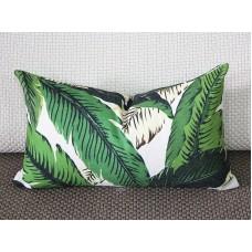 One Tropical Banana Palm Pillow Cover Leaves Outdoor Pillow Dark Green 12x20 20x20 22x22 Lumbar Hawaiian Green Zipper Pillow cover 273