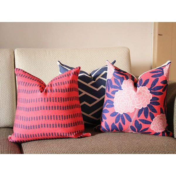 Pink Ikat Pillow Modern Geometric Blue Cover Throw Designer