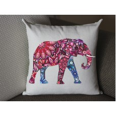 pink Elephant pillow, Cotton Linen Elephant pillow cover, cartoon pillow covers 279