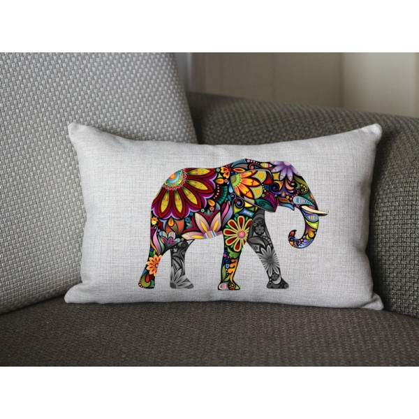 yellow Elephant lumbar pillow, Cotton Linen Elephant lumbar pillow cover, cartoon pillow covers 284