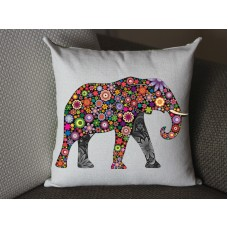 flower Elephant pillow, Cotton Linen Elephant pillow cover, cartoon pillow covers 281