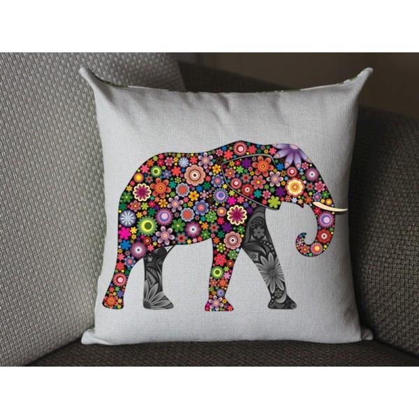 flower Elephant pillow, Cotton Linen Elephant pillow cover, cartoon pillow covers 281