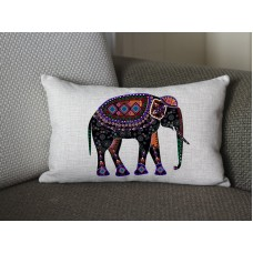 black Elephant lumbar pillow, Cotton Linen Elephant lumbar pillow cover, cartoon pillow covers 282