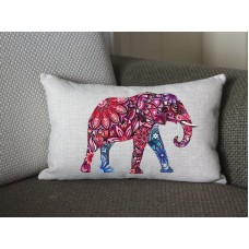 pink Elephant lumbar pillow, Cotton Linen Elephant lumbar pillow cover, cartoon pillow covers 283