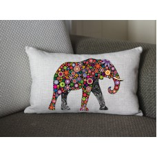 flower Elephant lumbar pillow, Cotton Linen Elephant lumbar pillow cover, cartoon pillow covers 285