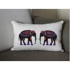 black pink yellow flower Elephant lumbar pillow, Cotton Linen Elephant lumbar pillow cover, cartoon pillow covers 286