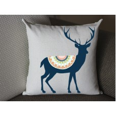 dark blue deer pillow, Cotton Linen Deer pillow cover, cartoon pillow covers deer lumbar pillow 288
