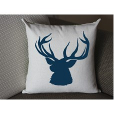 dark blue deer pillow, Cotton Linen Deer pillow cover, cartoon pillow covers deer lumbar pillow 289