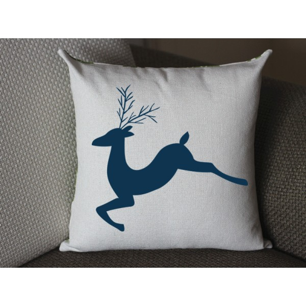 dark blue deer pillow, Cotton Linen Deer pillow cover, cartoon pillow covers deer lumbar pillow 290