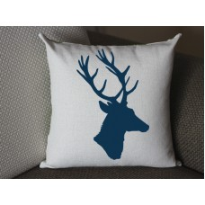 dark blue deer pillow, Cotton Linen Deer pillow cover, cartoon pillow covers deer lumbar pillow 291