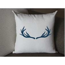 dark blue deer antlers pillow, Cotton Linen deer antlers pillow cover, cartoon pillow covers deer antlers lumbar pillow 292
