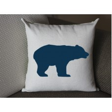 dark blue bear pillow, Cotton Linen bear pillow cover, cartoon pillow covers bear lumbar pillow 294
