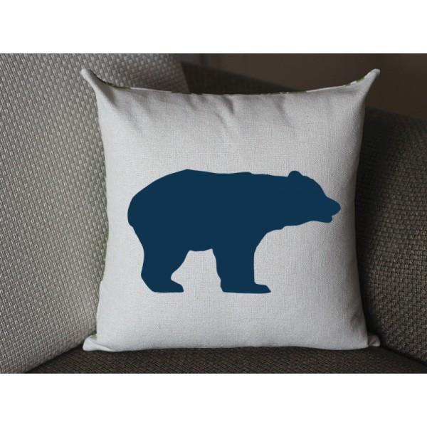 dark blue bear pillow, Cotton Linen bear pillow cover, cartoon pillow covers bear lumbar pillow 294