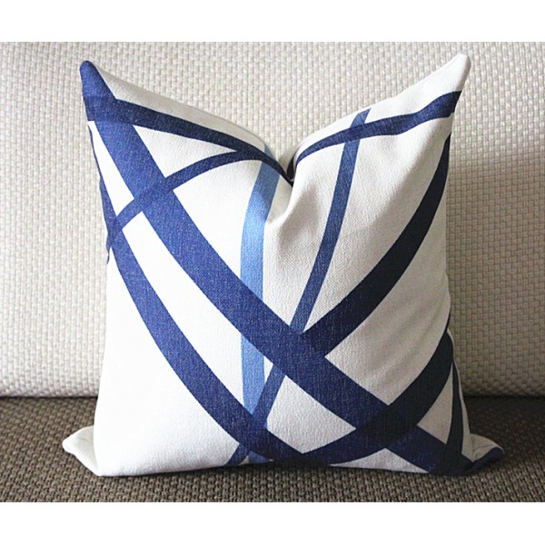 Blue stripes pillow - Blue Channels Pillow Cover - Blue Pillow - Designer Geometric Pillow Cover 296