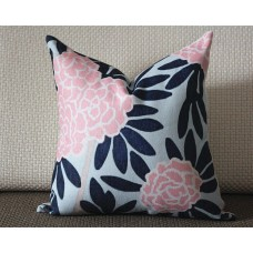 4 colors designer Pillow - Aqua and Navy Pillow Cover- Floral Pink Pillow - Blue Pink Chinoise Pillow - Modern Home Decor, Lumbar pillow 297