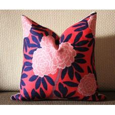 4 colors designer Pillow - Aqua and Navy Pillow Cover- Floral Pink Pillow - Blue Pink Chinoise Pillow - Modern Home Decor, Lumbar pillow 297