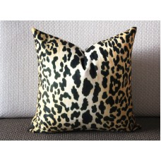 Leopard thin Velvet Pillow Cover - Animal Print Throw Pillow - Gold and Black Short plush Velvet Pillow  303