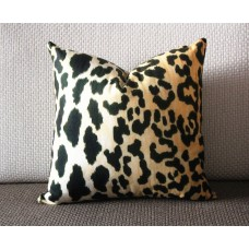 Leopard thin Velvet Pillow Cover - Animal Print Throw Pillow - Gold and Black Short plush Velvet Pillow - Lumbar pillow 306