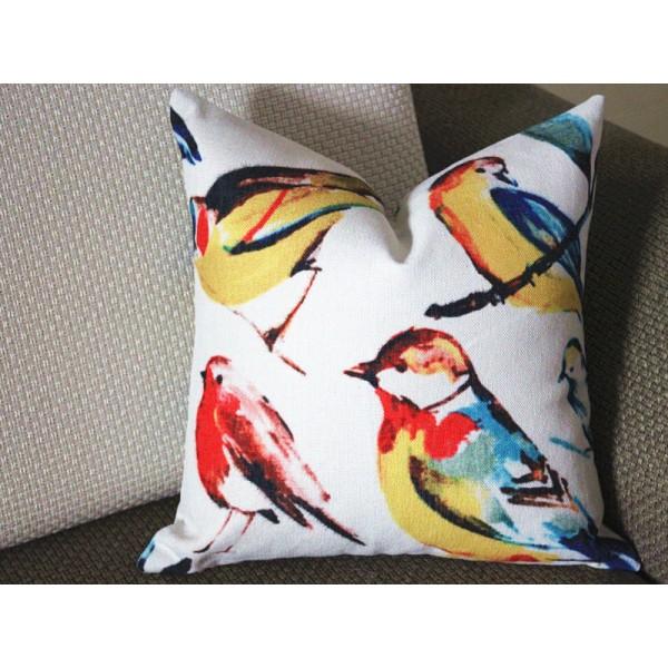 cotton linen Meadow Bird Pillow Covers - Modern Home Decor, Lumbar pillow 307