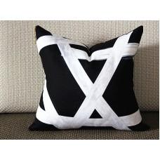Exclusive Original Designer pillow - black white with gold zipper Pillow Cover - Designer Geometric Pillow Cover 313