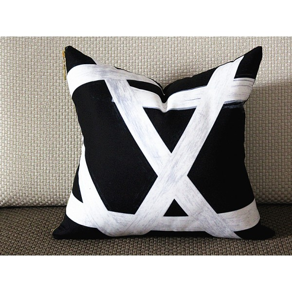 Exclusive Original Designer pillow - black white with gold zipper Pillow Cover - Designer Geometric Pillow Cover 313