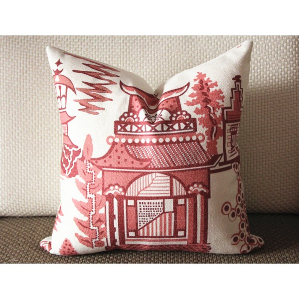 5 colors Designer cotton linen Pillow -chinese Nanjing in hot pink, blue, green, red pagoda Pattern, blue Pillow - Throw Pillow 314