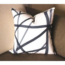 Black gray Channels Pillow Cover - Black pillow - Black stripes Pillow - Designer Geometric Pillow Cover 317