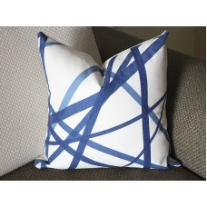 Blue Channels Pillow Cover - Blue Pillow - Designer Geometric Pillow Cover 318