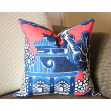 Designer cotton linen Pillow - Willow Pattern Chinoiserie Pillow Cover, hot pink blue Pillow - Throw Pillow 320