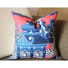 Designer cotton linen Pillow - Willow Pattern Chinoiserie Pillow Cover, hot pink blue Pillow - Throw Pillow 320