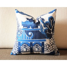 Designer cotton linen Pillow -Willow Pattern Chinoiserie Pillow Cover, blue Pillow - Throw Pillow 321